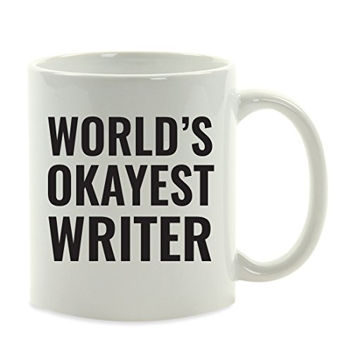 Andaz Press 11oz. Coffee Mug Gag Gift, World's Okayest Writer, 1-Pack, Funny Witty Coffee Cup Birthday Christmas Present Ideas ()