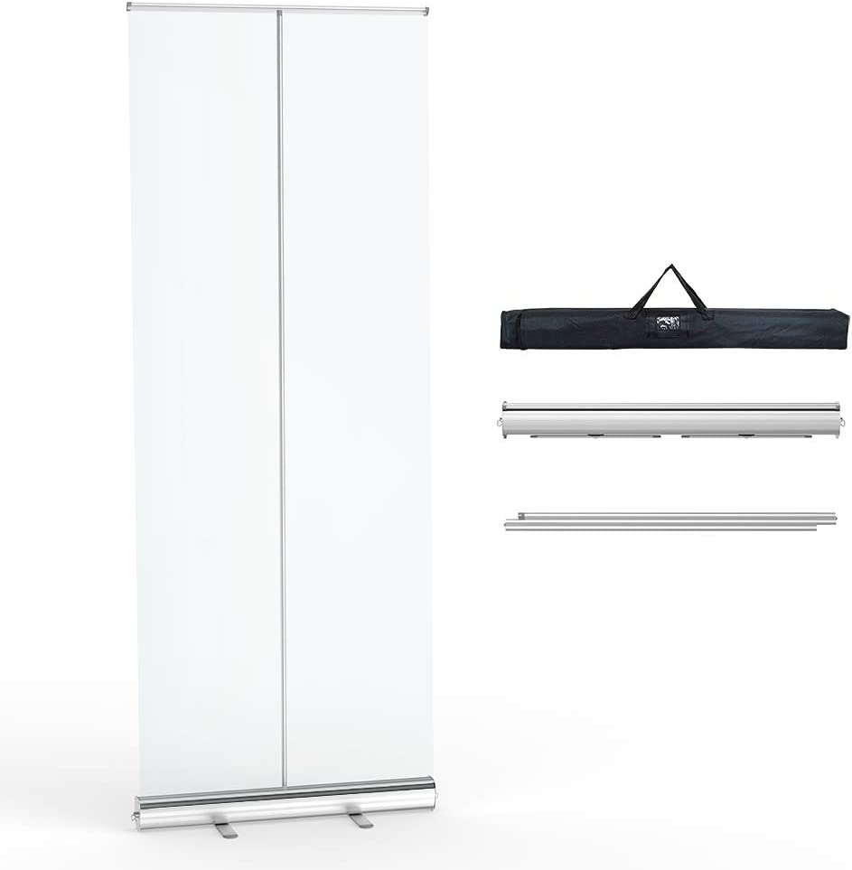 "Levovo Floor Standing Sneeze Guard, 6 Ft H 2.5 Ft W (81.5"" H 32"" W) Portable Pull-Out Banner with Clear Screen Shield for Office, Stores, Restaurant, Classroom and More"