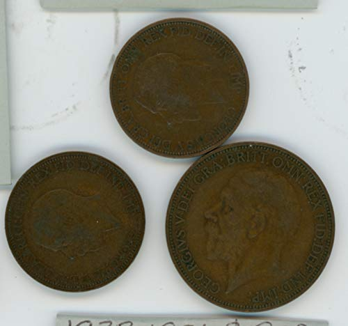 (UK 1927, 1931, 1932 Lot of (3) Great Britain Half Penny and One Penny Coins Fine)