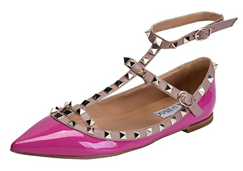 CAMSSOO , Bout pointu femme - - rose Patant PU,