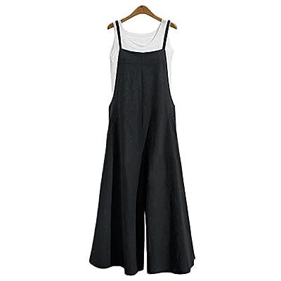 Jumpsuits for Women Casual Cotton Jumpsuit Long Suspender Twin Side Bib Wide Leg Overalls Pants Large Size