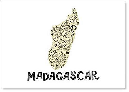 Imán para nevera con diseño de mapa de Madagascar con dibujos ...