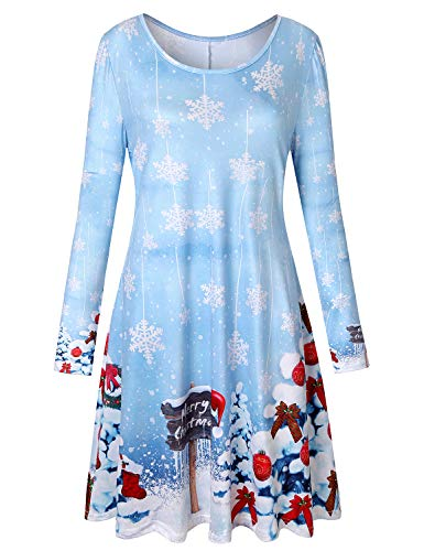 Viracy A Line Dresses, Young Lady Fancy Festival Designer Dress 2XL Ugly Xmas Tunic High Elasticity Leisure Oversize Pattern Printed Apparel Christmas Pullover Gifts for Girl Friend Christmas Tree