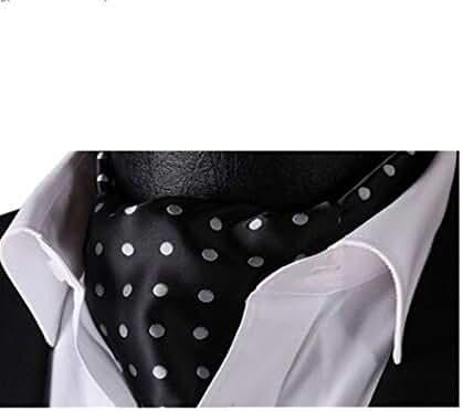 Lingswallow Burgund Polka Dot Men Silk Cravat Ties Jacquard Woven Casual Ascot