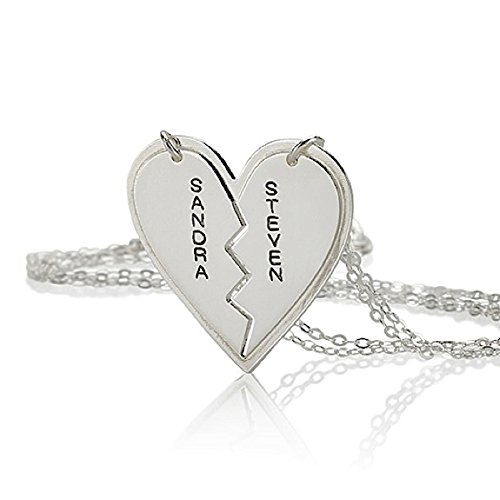 (Sterling Silver Name Necklace Couple's Breakable Heart Pendant - Personalize Any Two)