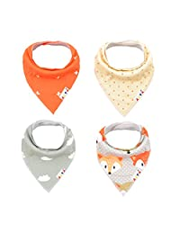Alva Baby Bandana Bibs Boys Girls Unisex ,Soft and Super Absorbent 100% Cotton,Baby Gifts for Drooling and Teething (Pack of 4) SK08-CA
