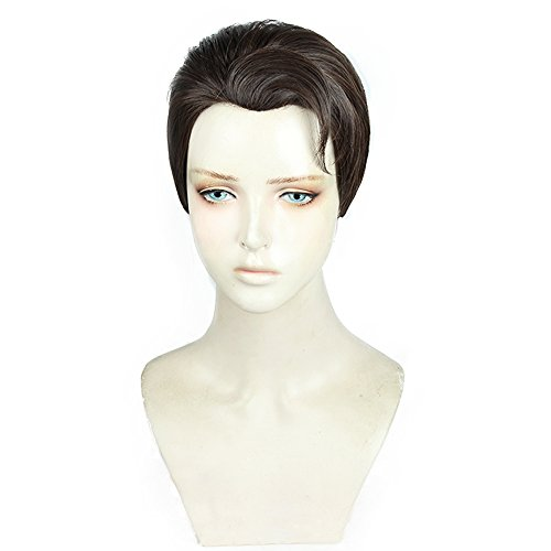 magic acgn Short Brown Anime Cosplay Wig For Men Christmas Wig   -