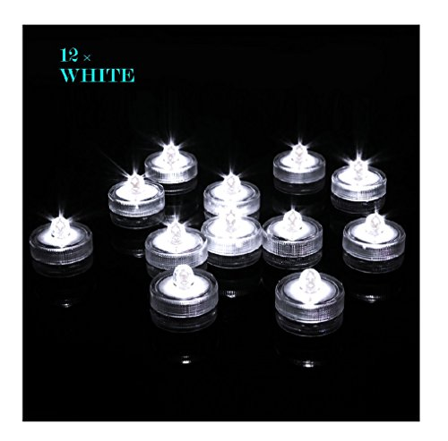 Livingly Light Home Decorations LED Tea Candles Bulb Battery Operated Flameless for Seasonal & Festival Celebration, Pack of 12, Electric Fake Candle in Clear White and Wave Open