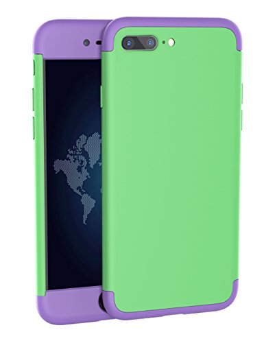 iPhone 7 Plus Case, JIBAN [ 360 Degree Full Protective Series] 3 in 1 Slim Hard Plastic Case Contrasting Color Design Phone Cover for iPhone 7Plus [ Green and Purple - Degree Ban