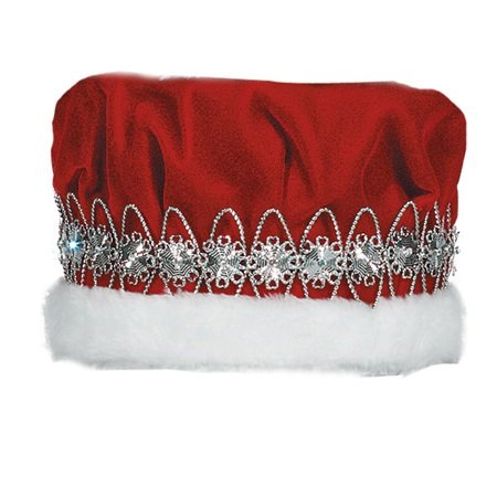 Red Velvet Regal Crown, White Faux Fur Trim, Silver Floral Band, 6 1/2 Inch high ()