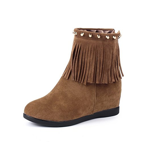 A&N Girls Tassels Low Heels Round Toe Frosted Boots Yellow fFdUn