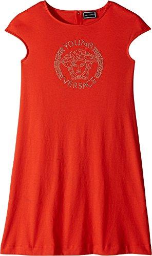 Versace Kids Girl's Cap Sleeve Dress With Medusa Logo (Big Kids) Corallo - Girls Versace For