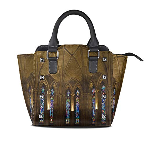 Abbey Architecture Church Handbags Purses Totes Leather Shoulder Bags Top Satchel Rivet Womens ()