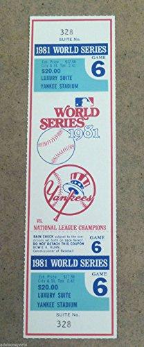 Yankee Game Ticket (WORLD SERIES FULL UNUSED TICKET - 1981 - Gm 6 - YANKEES DODGERS - FINAL GAME)