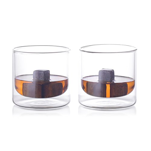 Eparé Insulated Whiskey Glass Set (9 oz, 180 ml) – Double Wall Thermal Old Fashioned Tumbler – Rocks Cup for Drinking Bourbon, Vodka, Scotch, Cocktails – 2 Low Ball Glasses (Japanese Vintage Glass)