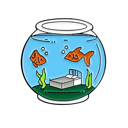 Yinpinxinmao Cute Goldfish Fish Tank Enamel Brooch Pin Lapel Denim Jeans Coat Decor Badge Jewelry Blue