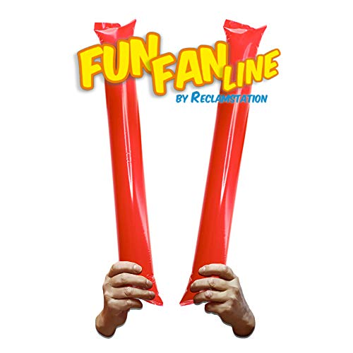 Fun Fan Line - Thunder Sticks, Bam Bam, Cheer Sticks, Inflatable Boom Sticks, Noisemakers Ideal for Parties, Celebrations and Sport Events (Red, 10 Pairs)