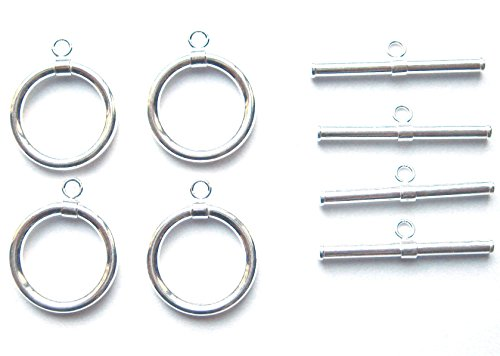 4 Qty. 15mm Round Toggle Clasp .925 Sterling Silver by JensFindings ()