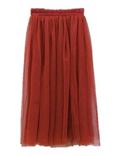 en t Jupe Skirt Femme BohMe Haililais Tulle Red Jupe Big Jupe Lache Tendance Femelle Couleur Longue Swing Beau Jupe Unie Jupe pwTvw