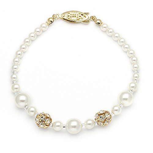 Mariell Ivory Simulated Pearl Wedding Bridal Bracelet with Swarovski Crystal Rhinestones - Made in USA - Mother Of Pearl Yellow Bracelet