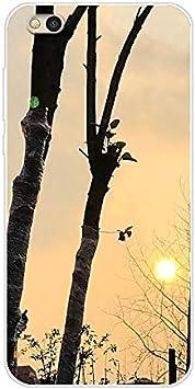 Aksuo Funda For Xiaomi Mi 5C , Bumper con Absorción de Impactos y Anti-Arañazos Espalda para TPU Cover Protectora TPU Caso Slim Silicona para Case - Ramas del arbol del Sol