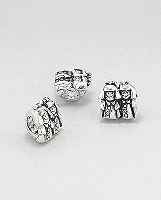 707d2b0c2 Little Girls/Twins Sterling Silver Charm Bead - Family Charm - Fits  European Charm Bracelets: Amazon.co.uk: Jewellery