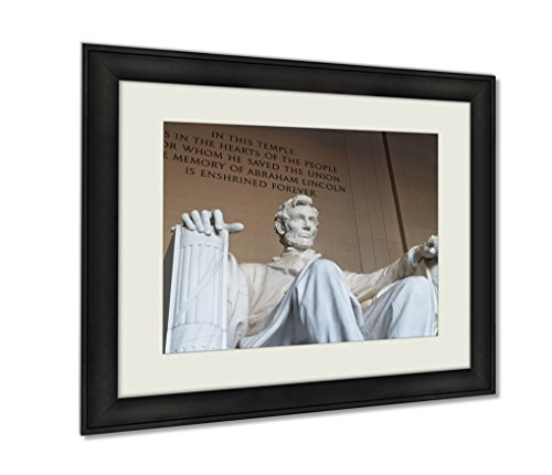 Ashley Framed Prints Lincoln Memorial Statue Of Abraham Lincoln Artwork Decoration Photo Print Wood Frame with Matte, kitchen living room bedroom 20x25 (Lincoln Memorial Photo)