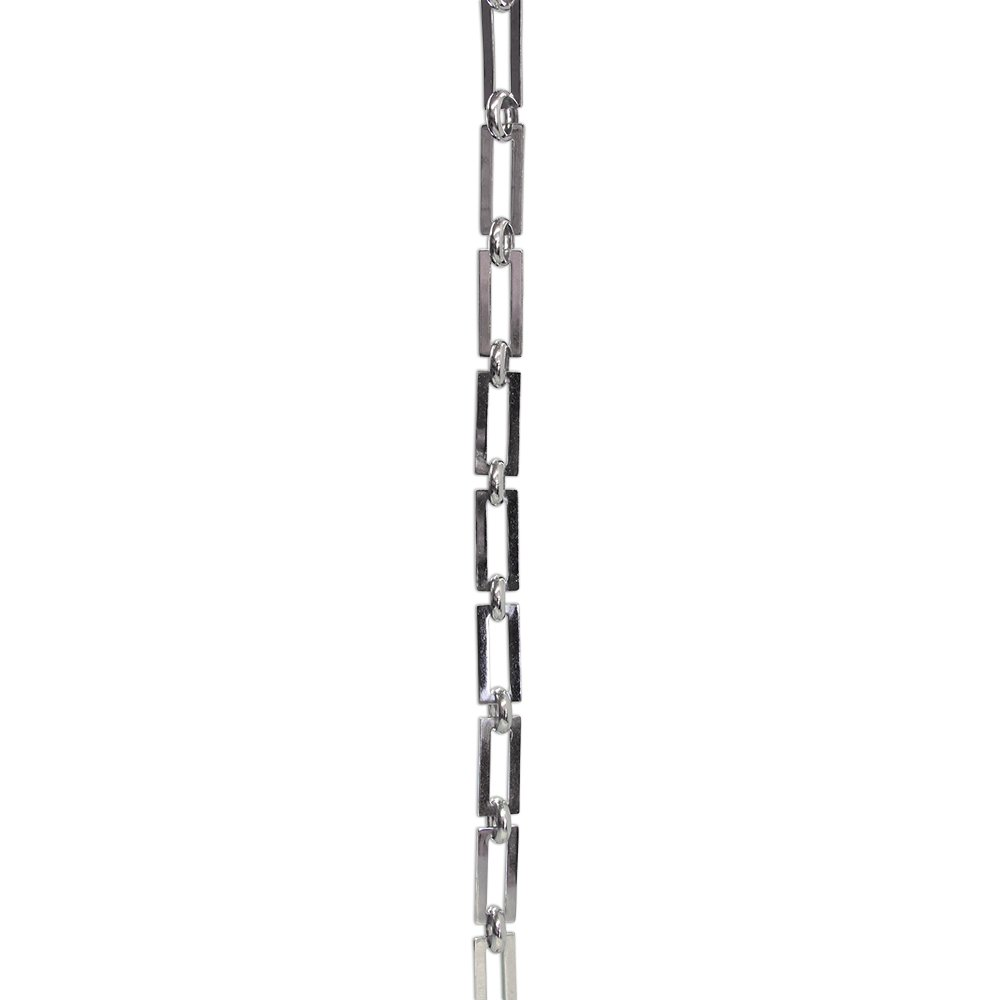 RCH Hardware CH-01-PN-3 Decorative Polished Nickel Coated Solid Brass Chain for Hanging, Lighting - Rectangular Square Edge and Unwelded Links (3 ft/1 Yard)