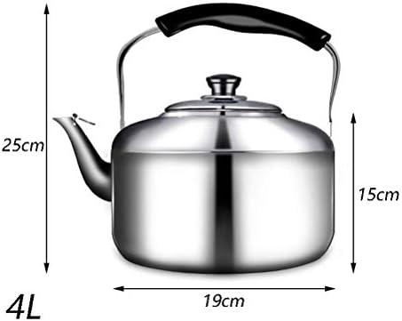 Theepot Met Fornuis En Fluitje, Zilverkleurige Roestvrijstalen Waterkoker - Met Koud Ergonomisch Handvat En Filtergaten Voor Bloeiende En Losse Thee (Maat: