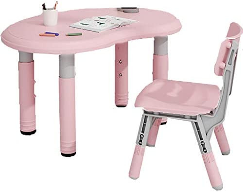 学習デスク 子供の学習テーブルと椅子セット、高さ調節可能なキッズデスクセット 、学生のインタラクティブなワークステーション、男の子と女の子のための家庭用学生ライティングデスク、最大負荷:100kg (Color : Pink, Size : 90*60cm)