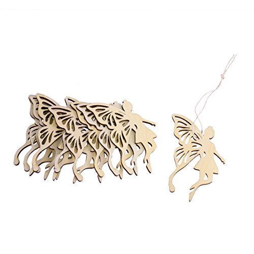 Flameer 10 Cut Fairy Butterfly Wood Tag String Xmas Tree Embellishments Craft ()