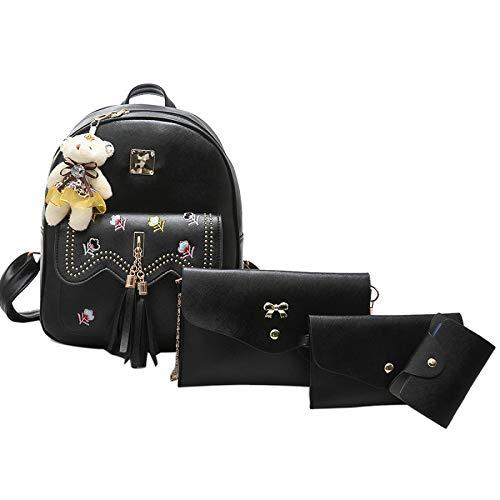 Backpack Pack 2017 Tassel Rivet Flower4 Bag Embroidery Woman Shoulder Black TqxTwO8