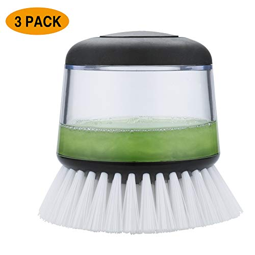 CLNER Brush with Soap Dispenser for Dishes Pot Pan Kitchen Sink Cleaning, 3 pcs, 3Pcs, Soft