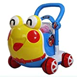 Ybriefbag-Toys Baby Three-in-one Activity Walker Baby Walker Trolley Toy Baby Child Rollover Prevention Walker 6-7-18 Months 1 Year Old (Color : Blue, Size : 474638CM)