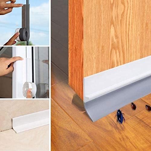 Syfinee Transparent Windproof Silicone Sealing Strip Bar Door Sealing Strip Durable Multifunctional Door Bottom Seal Weather Stripping Adhesive Door Bottom Sweep Soundproof Door Kit Doors And Windows
