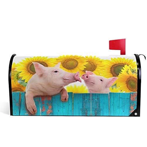 Funny Pig Hanging On Fence Welcome Large Magnetic Mailbox Post Box Cover Wraps, Yellow Sunflowers Oversized 25.5