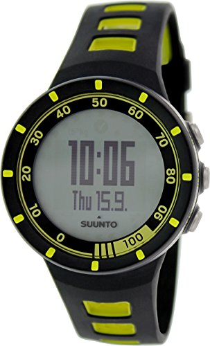 Suunto Men's Digital Quest Yellow GPS Pack Black and Lime Green Resin Strap