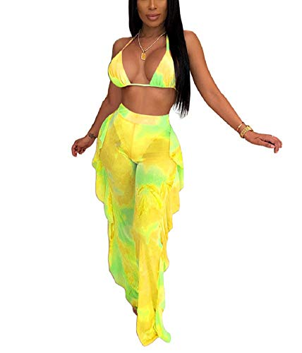 - Women Sexy Sheer Mesh 2 Piece Outfits Swimsuit Ruffle Long Pants Jumpsuit Set Bikini Bottom Cover up Yellow