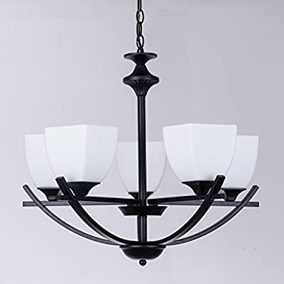 "Alice House 24"" Dining Room Chandeliers, Black Finish, 5 Light Kitchen Light Fixtures with 72"" Chain, Farmhouse Lighting AL12077-H5 -  - kitchen-dining-room-decor, kitchen-dining-room, chandeliers-lighting - 416Guj9S4kL. SS400  -"