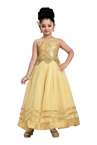 Aarika Girl's Self Design Net and Satin Party Wear Ball Gown (G-2836-FAWN_18_2-3 Years) by Aarika