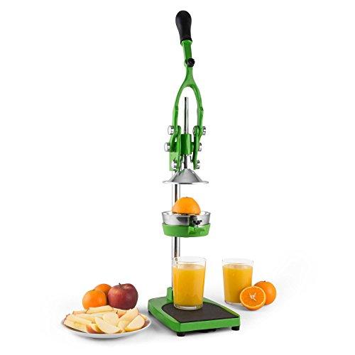 Klarstein TriJuicer 3 in 1 Saftpresse Pommespresse und Apfelschneider mit austauschbares Presswerk (manuelle kraftspendender Hebel-Mechanik, aus Edelstahl und Zink-Druckguss, Gummifüße und zwei Saugnäpfe) grün