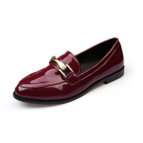 Meeshine Patent Leather Penny Loafer Flat Point Toe Slip On Oxfords Shoes Red Wine 8.5 US