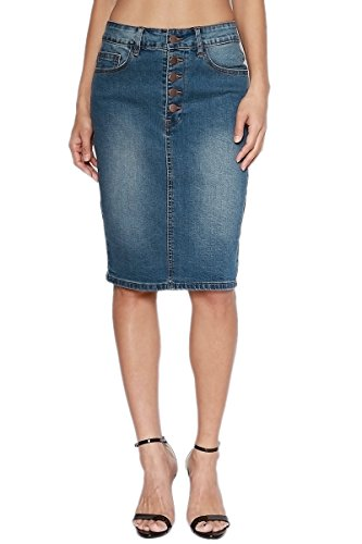 TheMogan Women's Button Fly Washed Denim Midi Pencil Skirt Dark L (Straight Denim Skirt)