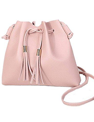 Color Handbag Multi Pink (Women PU Leather Bag Ladies Tassels Mini Shoulder Cross Body Bags Handbag Multicolor (pink))