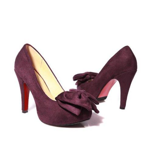 Charme Pied Mode Arcs Femmes Plateforme Haut Talon Mary Jane Pompes Chaussures Vin Rouge