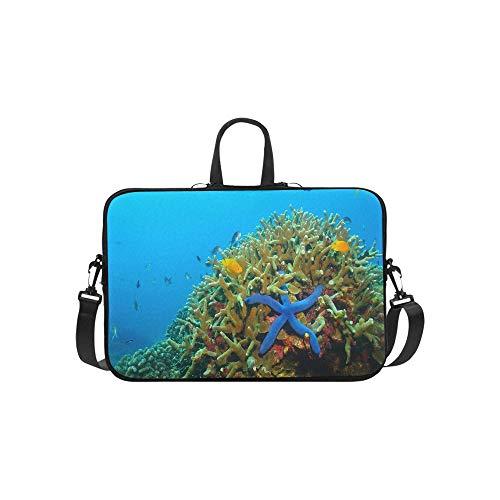 Various Fish in The Azure Ocean Pattern Briefcase Laptop Bag Messenger Shoulder Work Bag Crossbody Handbag for Business Travelling (Best Laptop Price In India)