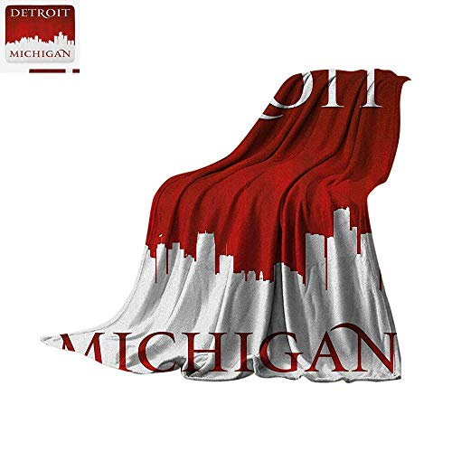 "Detroit Throw Blanket Michigan City Silhouette Red and White Composition with Classical Typography Print Artwork Image 60""x50"" Red and White"