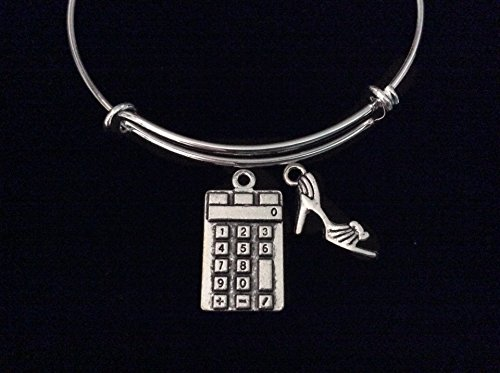 Calculator and High Heel Shoe Expandable Charm Bracelet Silver Wire Adjustable Bangle Stacking Math Tutor Mather Teacher Gift (High Calculator Heel)