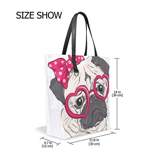 Pug Bennigiry 001 L'épaule Porter Pour Unique À Femme Dog Fashion Sac Tote Taille Portrait SfwfpxqvBZ