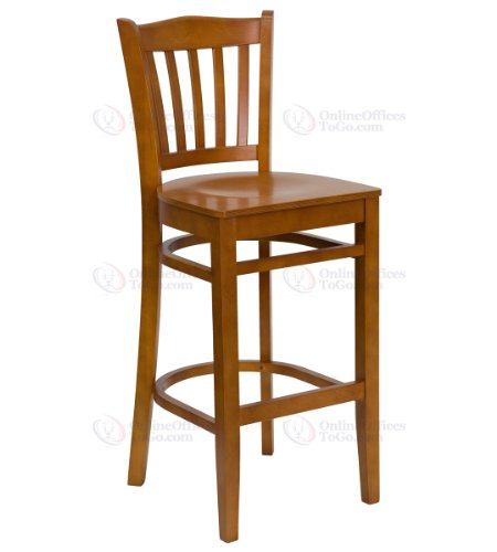 HERCULES Series Cherry Finished Vertical Slat Back Wooden Restaurant Bar Stool